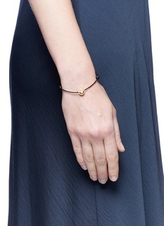 Ruifier 'Happy' 18k gold charm leather bracelet