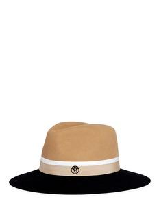 Maison MichelHenrietta' colourblock rabbit furfelt fedora hat