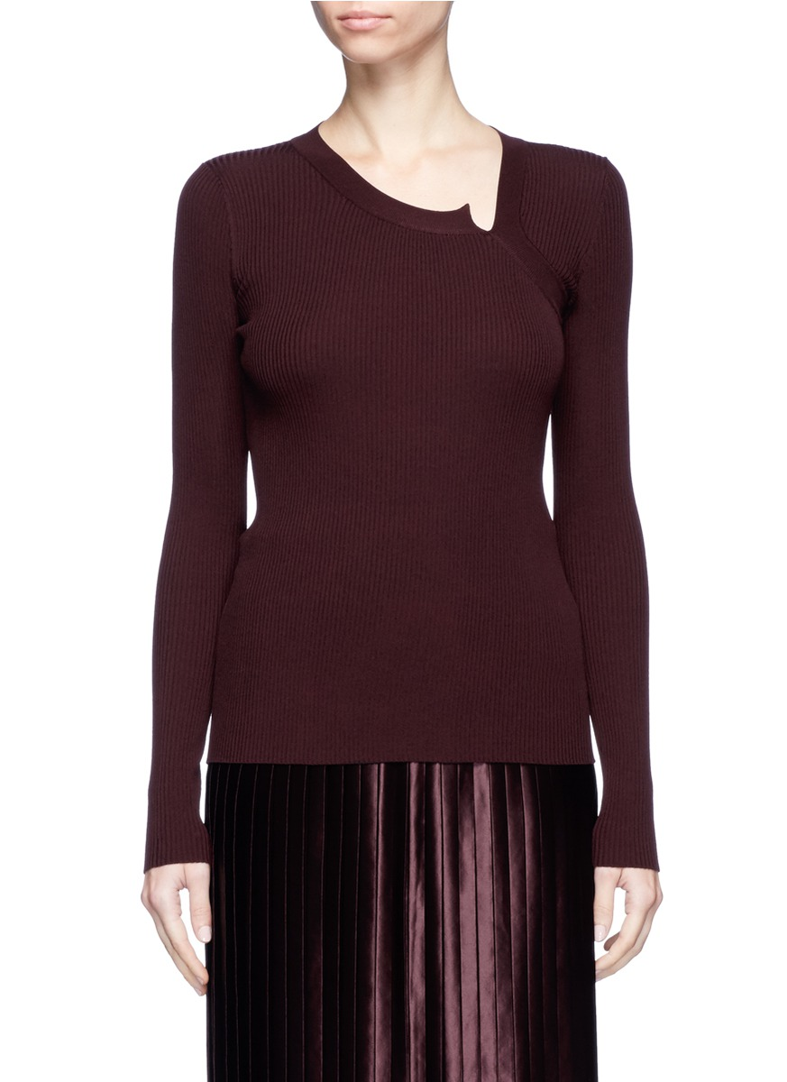 Asymmetric neck rib knit sweater by Ms MIN