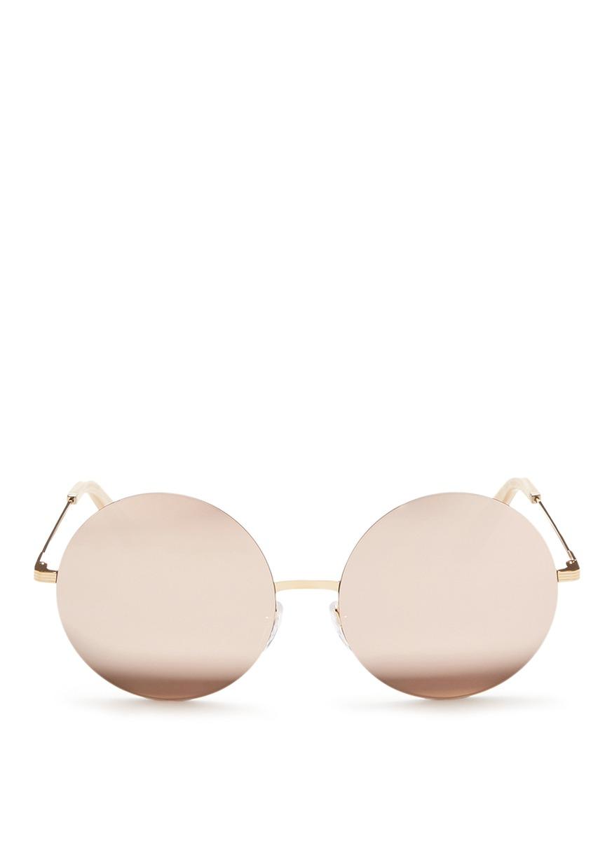 victoria beckham female feather round 18k gold plated mirror sunglasses