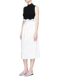The Row 'Daul' ruched lace-up poplin skirt