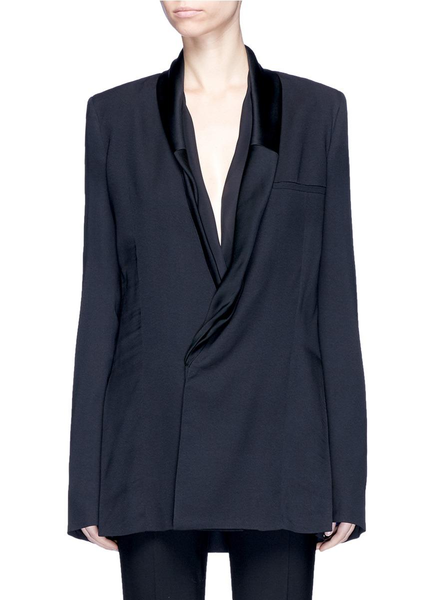 Sateen drape shawl lapel tuxedo blazer by Haider Ackermann