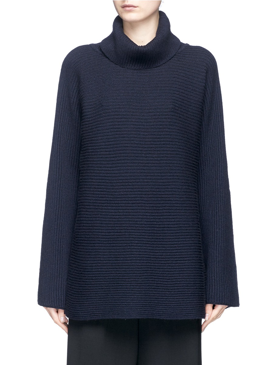 Jose foldover turtleneck cashmere-silk sweater by The Row