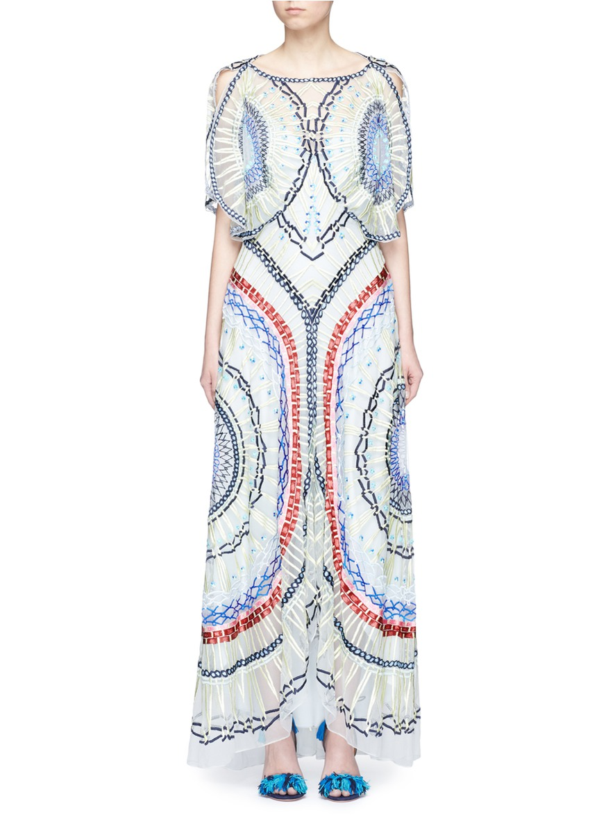 Long Aura geometric embroidered tulle dress by Temperley London