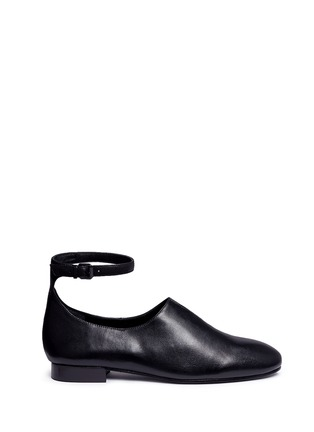 Main View - Click To Enlarge - Opening Ceremony - 'Norrah' ankle strap notched vamp leather flats