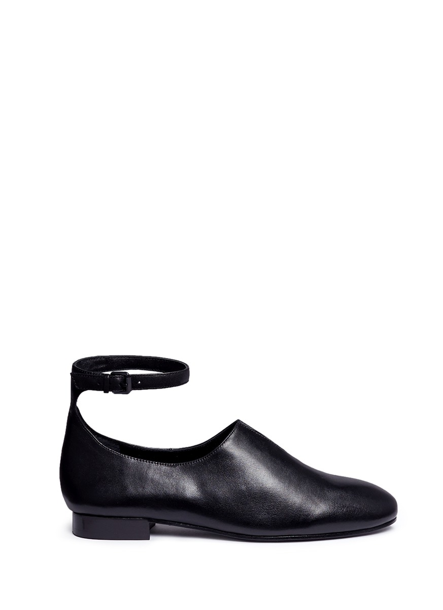 Norrah ankle strap notched vamp leather flats by Opening Ceremony