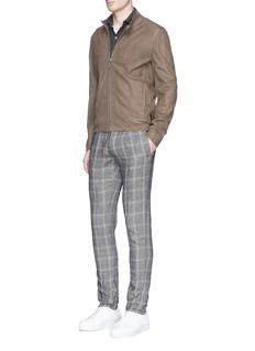 IncotexSlim fit check plaid linen-cotton pants