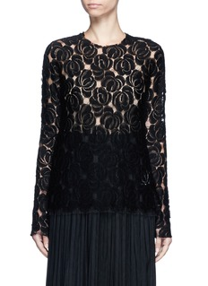 Ms MIN Floral lace wool blend top