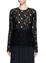 Floral lace wool blend top