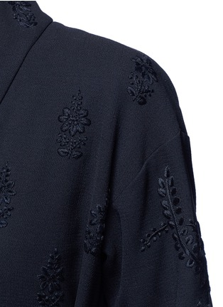 Detail View - Click To Enlarge - Ms MIN - Floral embroidery faux leather belt cardigan