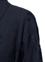 Floral embroidery faux leather belt cardigan