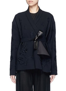 Ms MIN Floral embroidery faux leather belt cardigan