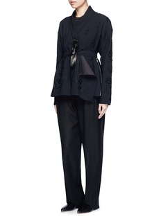 Ms MINFloral embroidery faux leather belt cardigan