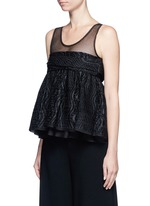 Tulle panel silk blend jacquard top