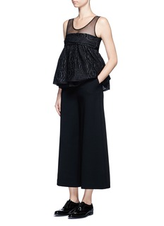 Ms MIN Tulle panel silk blend jacquard top