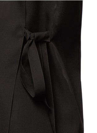 Detail View - Click To Enlarge - Ms MIN - Tie side sheer wool blend twill top