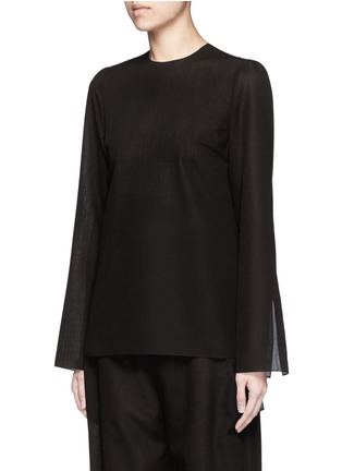 Front View - Click To Enlarge - Ms MIN - Tie side sheer wool blend twill top