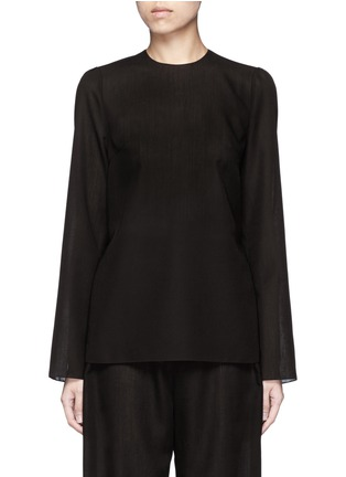 Main View - Click To Enlarge - Ms MIN - Tie side sheer wool blend twill top