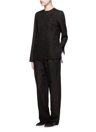 Figure View - Click To Enlarge - Ms MIN - Tie side sheer wool blend twill top