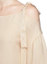 Knotted strap off-shoulder twill top