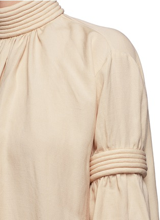 Detail View - Click To Enlarge - Ms MIN - Piped panel linen blend twill dress