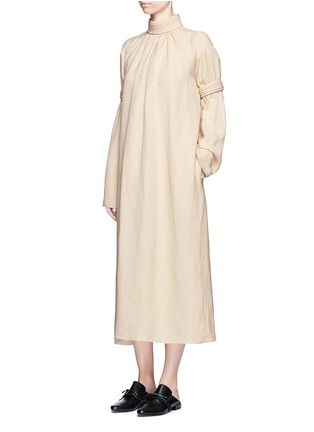 Figure View - Click To Enlarge - Ms MIN - Piped panel linen blend twill dress