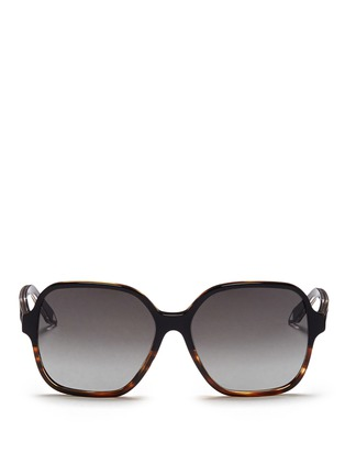 Main View - Click To Enlarge - Victoria Beckham - 'Iconic Square' tortoiseshell acetate oversize sunglasses