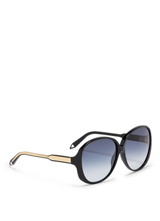 Figure View - Click To Enlarge - Victoria Beckham - 'Large Fine Oval' acetate oversize sunglasses