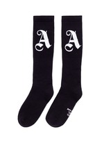 Logo intarsia cotton blend socks