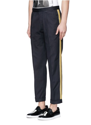 Front View - Click To Enlarge - Palm Angels - Lurex side stripe cropped pants