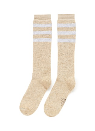 Main View - Click To Enlarge - Palm Angels - Metallic stripe cotton blend socks
