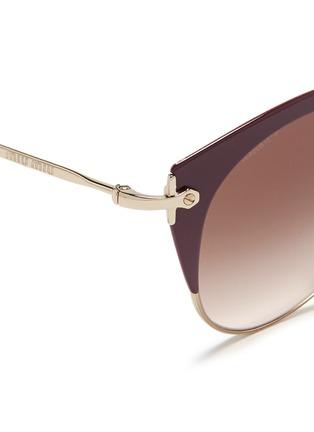 Detail View - Click To Enlarge - miu miu - 'Noir' coated brow bar cat eye gradient sunglasses