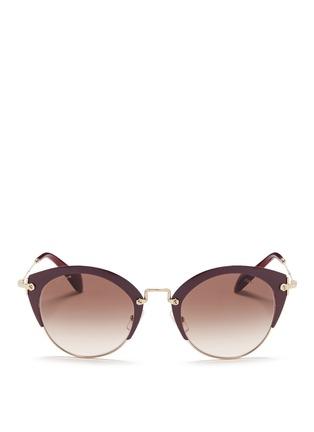 miu miu-'Noir' coated brow bar cat eye gradient sunglasses