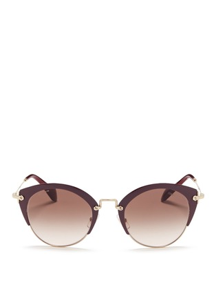 Main View - Click To Enlarge - miu miu - 'Noir' coated brow bar cat eye gradient sunglasses