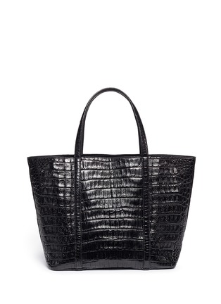 Back View - Click To Enlarge - CELESTINA BAGS - 'Coronel' Caiman crocodile leather shopper tote