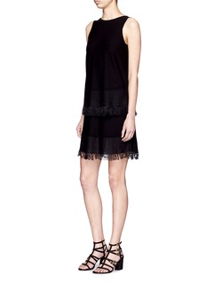 THEORY 'Jurinzi' tiered fringe knit dress