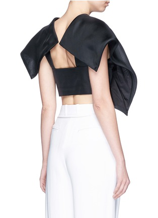 Back View - Click To Enlarge - DELPOZO - Foldover square sleeve silk gazar cropped top
