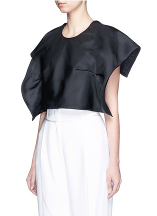 Front View - Click To Enlarge - DELPOZO - Foldover square sleeve silk gazar cropped top