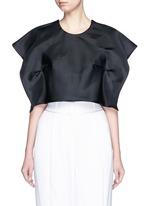 Foldover square sleeve silk gazar cropped top