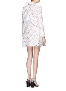 DELPOZO Bow tie back polka dot jacquard cropped jacket