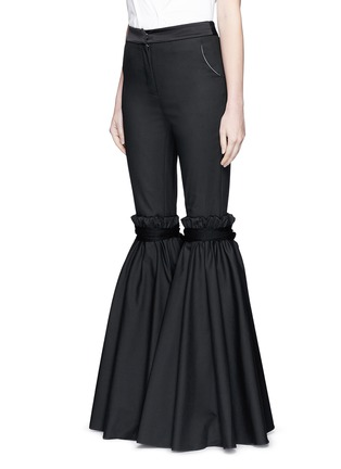 Front View - Click To Enlarge - Ellery - 'Rockface' drawstring overlay wide flare pants