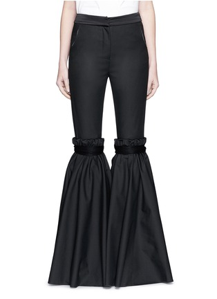 Main View - Click To Enlarge - Ellery - 'Rockface' drawstring overlay wide flare pants