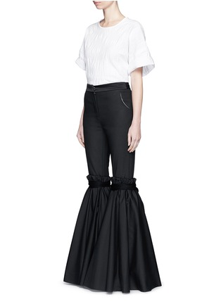 Figure View - Click To Enlarge - Ellery - 'Rockface' drawstring overlay wide flare pants