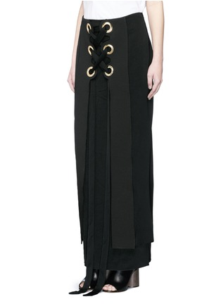 Front View - Click To Enlarge - Ellery - 'Pont Neuf' lace-up satin crepe maxi skirt