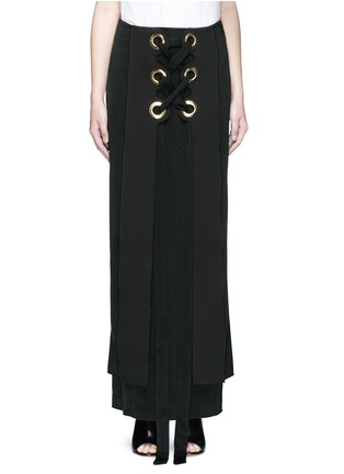 Main View - Click To Enlarge - Ellery - 'Pont Neuf' lace-up satin crepe maxi skirt
