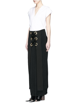 Figure View - Click To Enlarge - Ellery - 'Pont Neuf' lace-up satin crepe maxi skirt