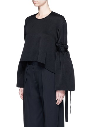 Front View - Click To Enlarge - Ellery - 'Mountainous' cone sleeve crepe cropped top