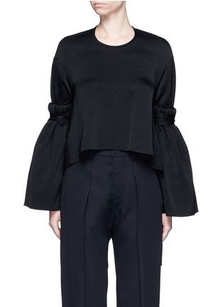 Main View - Click To Enlarge - Ellery - 'Mountainous' cone sleeve crepe cropped top