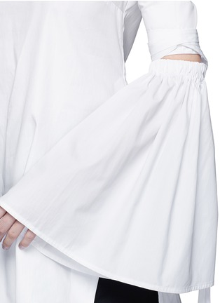 Detail View - Click To Enlarge - Ellery - 'Cyril' cutout cone sleeve off-shoulder cotton poplin top