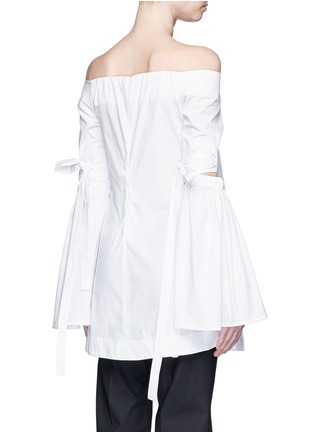 Back View - Click To Enlarge - Ellery - 'Cyril' cutout cone sleeve off-shoulder cotton poplin top